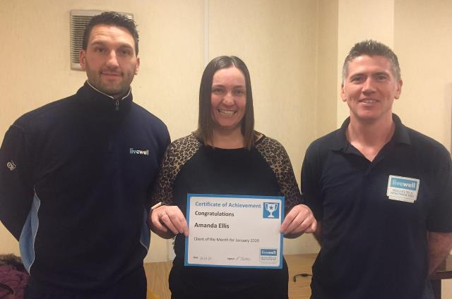 Image of Livewell client of the month Amanda with Livewell's Joe and Paul