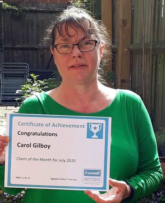 Client of the month Carol Gilboy