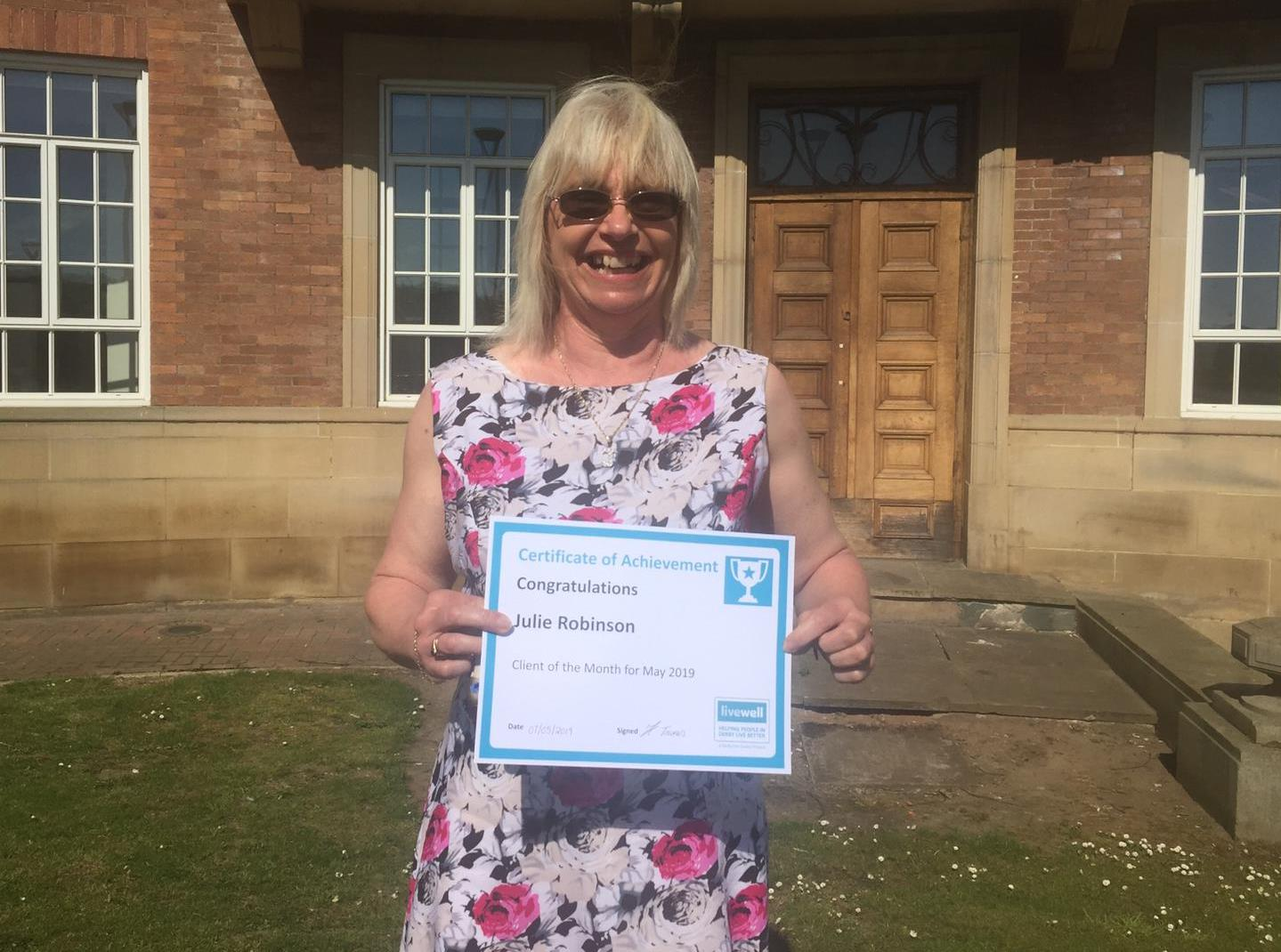 Image of Jules Robinson Client of the Month May 2019