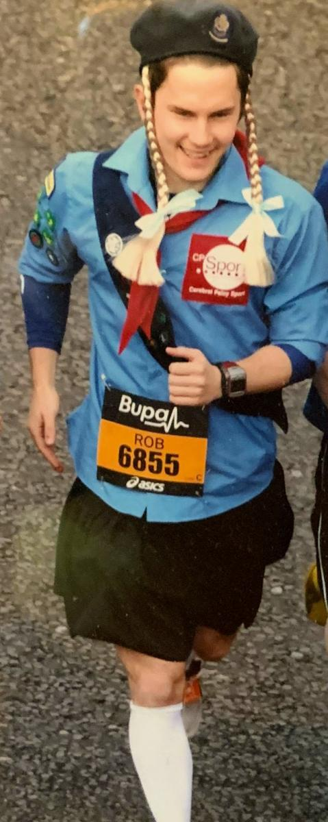 Livewell's Rob running the Great North Run as a girl guide