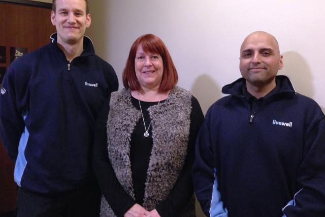 Image of Sue with Livewell advisors, Darminder and Paul
